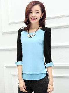b4dd84e6043184 Korean Style Slim With Necklace Color Block Chiffon Blouse Discount Online  Shopping, Fashion Editorials,