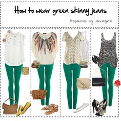love all of these outfits, desire for green jeans is increasing. created by smiletorismile on Polyvore