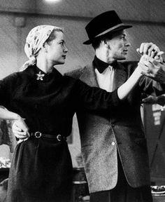 "Grace Kelly and Frank Sinatra rehearsing a scene for ""High Society"""