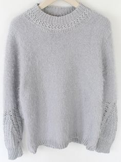Grey Round Neck Long Sleeve Vintage Knit Sweater