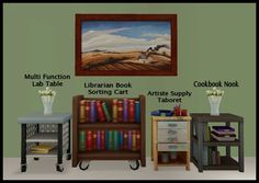 """deessims2downloads: """" Just some random end tables and a book cart that I happen to like from the Sims 4 Game! I looked around to see if anyone had done these and didn't see that anyone had but maybe I..."""