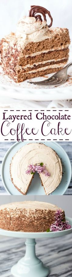 Layered Chocolate Coffee Cake. http://ValentinasCorner.com