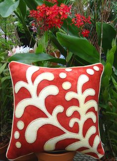 Opposites Attract Fern Wool Applique Throw Pillow
