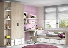 Habitación juvenil con cama nido de 3 cajones y armario.