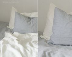 set of 2 LIGHT GREY LINEN pillow cases. envelope closure      ... this beautiful and organic textile brings softness and warmth to your