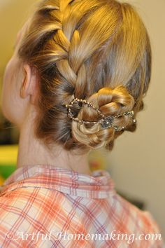 Artful Homemaking ~ French-braided bun in a Lilla Rose clip