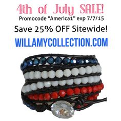 "BIG 4th of July Sale! Save 25% off entire site with Promocode ""America1"" Exp 7/7/15 #4thofjuly #pretty #jewlery #bracelet #leatherwrapbraclet #style #fashion"