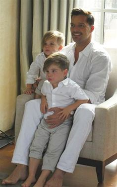 Ricky Martin and his 3-year-old twin sons