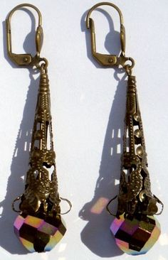 Bronze Filigree Cone Earrings w/ Iridescent Faceted Rounds by CrashsCuriosities