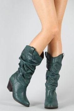Qupid Muse-01 Western Cowboy Slouchy Knee High Boot GREEN (FREE SHIPPING on all add'l items) (6),$33.50