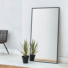 Apartment Leaner Mirror 150x80cm Black | Dunelm Big Floor Mirrors, Big Mirror In Bedroom, Floor Standing Mirror, Full Length Floor Mirror, Giant Mirror, Hallway Mirror, Ikea Mirror, Living Room Mirrors, Black Floor Mirror