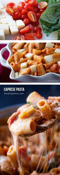 Caprese Pasta    -    full recipe here...    http://www.iheartnaptime.net/caprese-pasta/