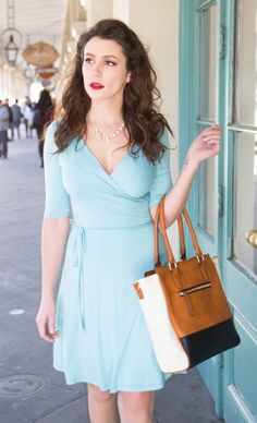 Loving this baby blue dress, perfect for summer, classy, Triple the Charm Bag l ModCloth