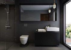 Resultado de imagem para dark grey bathroom