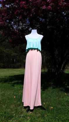 Blush Pink and Mint Ruffle Top Two-Tone Maxi Dress