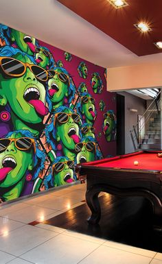 Rave Girl Transform your games room with this striking wallpaper mural. Featuring a graphic graffiti pattern, this amazing wallpaper mural by illustrator, Twisted Pixels is sure to add character to yo Graffiti Games, Graffiti Murals, Street Art Graffiti, Wall Murals, Wall Art, Graffiti Bedroom, Hippie Bedroom Decor, Video Game Rooms, Girl Wallpaper