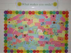"""Lynbrook South Middle were presented with a lesson regarding bullying awareness and acts of kindness.  After the lesson and a class discussion, students were reminded that one small act of kindness can change a person's day, week, or month. It will most certainly put a smile on their face for that moment.  The students were asked the questions...""""What are some things that make you happy?""""  They wrote their responses on an index card.  This board is displayed in the cafeteria at School. Make You Smile, Are You Happy, Small Acts Of Kindness, Index Cards, Kite, Bullying, No Response, Campaign, Students"""