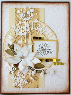 handmade card ... gorgeous montage of die cut flowers ... Memory Box Chloe die .. neutral colors and white ... gorgeous!!