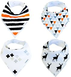 Baby Bandana Drool Bibs Organic 4 Pack for Boys and Girls with Snaps, Absorbent Soft Cotton for Teething Feeding Baby Shower Gift Burp Cloth (Black Grey Orange Stripe Unisex) From Lil Dandelion. ❤ CHOOSE GOTS CERTIFIED ORGANIC FOR YOU BABY - Bandana bibs are constantly in contact with your baby's skin and mouth so you would want the best & purest quality of fabric. Our bibs are made with 100% GOTS Certified organic cotton that's not treated with toxic chemicals so they are best for babies...