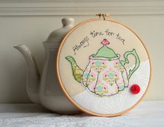 Embroidery hoop green teapot machine embroidery by rachelandgeorge on Etsy