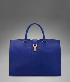 Large YSL Cabas CHYC in blue leather, $1995,00