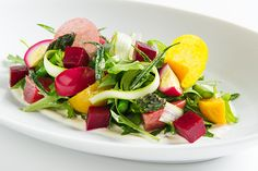 Healthy Local Asparagus and Beet Salad Appetizer at Rouge Tomate
