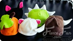Easy sew free fleece animal hat patterns. Dinosaur, Dragon, bear, cat, and horns. Sizes baby to adult. Free pdf pattern & Video.
