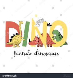 Dinosaurs play with letters. Can be used for baby t-shirt print, fashion print design, kids wear, baby shower celebration greeting and invitation card. Funky Baby Clothes, Graphic Art, Graphic Tees, Dinosaur Play, Cute Chibi, Shirt Print, Nursery Prints, Kids Wear, Flower Prints