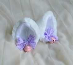 Kitten play clip on cat ears with ribbon bows and bell  neko