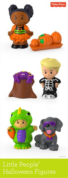 Meet this colorful cast of Little People® Halloween characters. Eddie™ the skeleton and his spider friend, Tessa and her pretty pumpkin patch, and Koby the dino with pup are a spook-tacular addition to your child's Halloween play date -- and your family's collection of exclusive Little People® playsets from Fisher-Price. Ages 1 to 4 years.