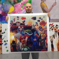 """'NEStalgia' by Aaron Jasinski -  Supersized Limited Edition Print (Only 40 Available) 36x36"""" - Available Now http://www.eyesonwalls.com/products/nestalgia-oversize #jasinski #painting #nes #nintendo #mario #donkeykong #chunlee #megaman #zelda #dukenukem #metroid #princesspeach #flyingbombs #greenturtle #1up #powerup #flyingturtles #mariovsdonkeykong #mariocart #eyesonwalls"""