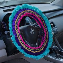 Natural Life's Steering Wheel Covers are back by popular demand! The bright purple with teal fringe steering wheel cover makes driving more fun. polyester steering wheel covers feature an inside no-slip grip. Hippie Auto, Hippie Car, Car Accessories For Guys, Bohemian Accessories, Purple Teal, Pink, Purple Velvet, Nissan Skyline Gtr, Design Autos
