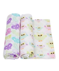 Look at this 21'' x 60'' Owls & Butterflies Muslin Swaddling Blanket Set on #zulily today!