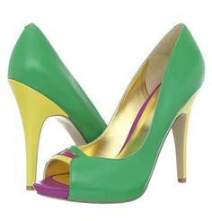 green peep toe shoes with yellow heel