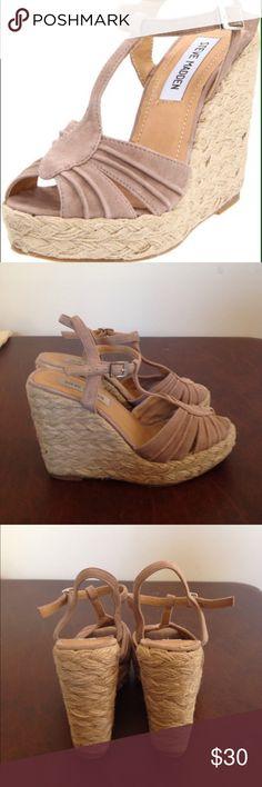 "Steve Madden suede wedge heels size 7 Steve Madden suede wedge heels size 7. Marvilis blush color. 4.5"" heels side upper Steve Madden Shoes Wedges"