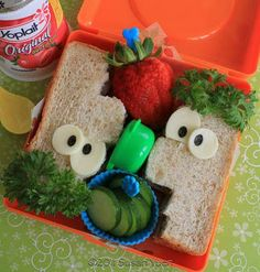 Kids Lunch: Check out this Ferb sandwich....... Want to see Candace and Phineas too.  www.itswrittenonthewall.com
