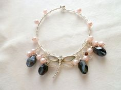Wire Wrapped Charm Bracelet with Mother of Pearl by StudioCKH, $34.00