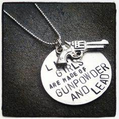 Hand Stamped Tag Girls are made of gunpowder and lead with gun charm. $23.00, via Etsy.