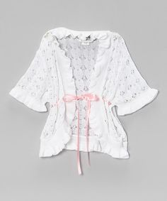 Another great find on #zulily! White & Pink Open Cardigan - Toddler & Girls by fingerprints new york #zulilyfinds