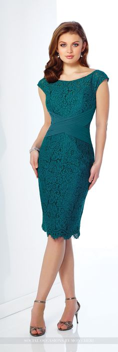 Social Occasions by Mon Cheri - 216875 - Lace over chiffon knee-length sheath with cap sleeves, lace illusion bateau neckline over sweetheart bodice, pleated crisscross chiffon midriff, scalloped hem, center back slit. Matching shawl included.
