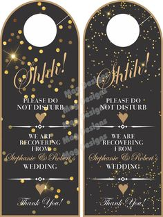 Do Not Disturb Door Hanger  Black and Gold  by idoartsyweddings