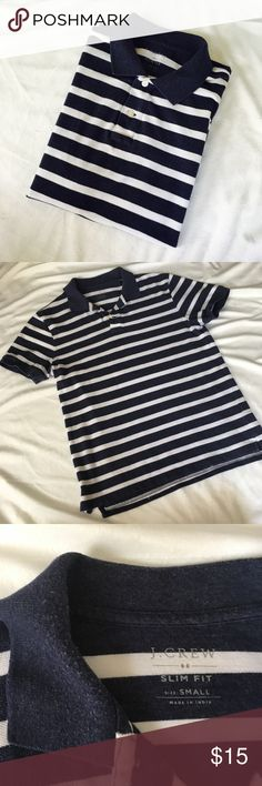 MENS J.Crew Nautical Striped Polo GUC Nautical Slim Fit Polo. Navy/White. See all pics--slight pilling near neckline. •75% Cotton •25% Polyester •Machine Wash Cold •Tumble Dry Low J. Crew Shirts Polos