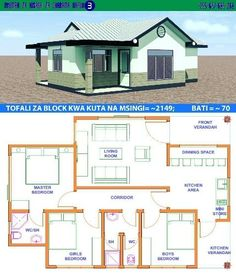 House Design with Full Plan 3 Bedrooms - Samphoas. Little House Plans, Free House Plans, House Layout Plans, Family House Plans, Small House Plans, Bungalow Haus Design, Modern Bungalow House, Tiny House, House Design