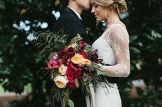 Saturated palette in Marsala and peach. #bridalbouquet Holland Daze Weddings