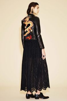 Leather jacket embellished with embroidered dragon. Valentino Resort 2016 Fashion Show
