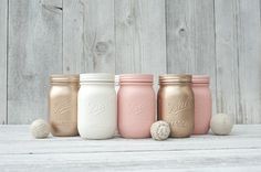 Peach and rose gold wedding painted mason jar by KAStylesMasonJars