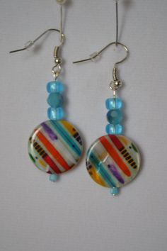 White, Blue, Multi-colored Earrings.  Fun and Whimsical!  Summer.  Beach. Resort. Tropical. by SKDesignsCo on Etsy