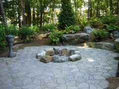 Fire pit ideas, just not the paver patio and with big seating rocks around the outside.
