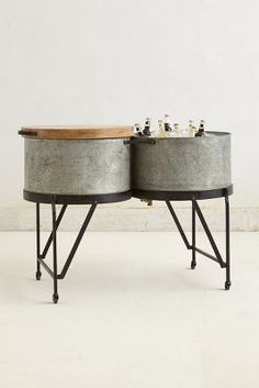"obsessed with this steel drum party tub - perfect for a backyard wedding ""bar"""