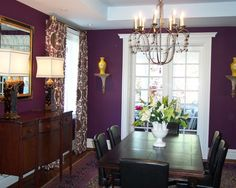 love the dark purple used in this dining room! | wood work